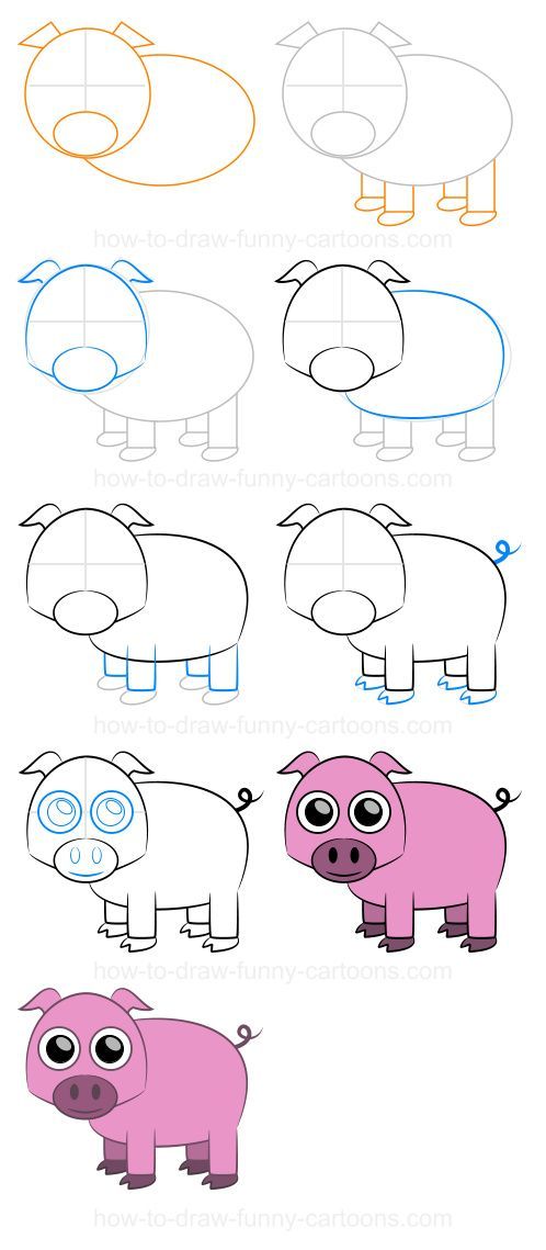 How to draw a pig step by step