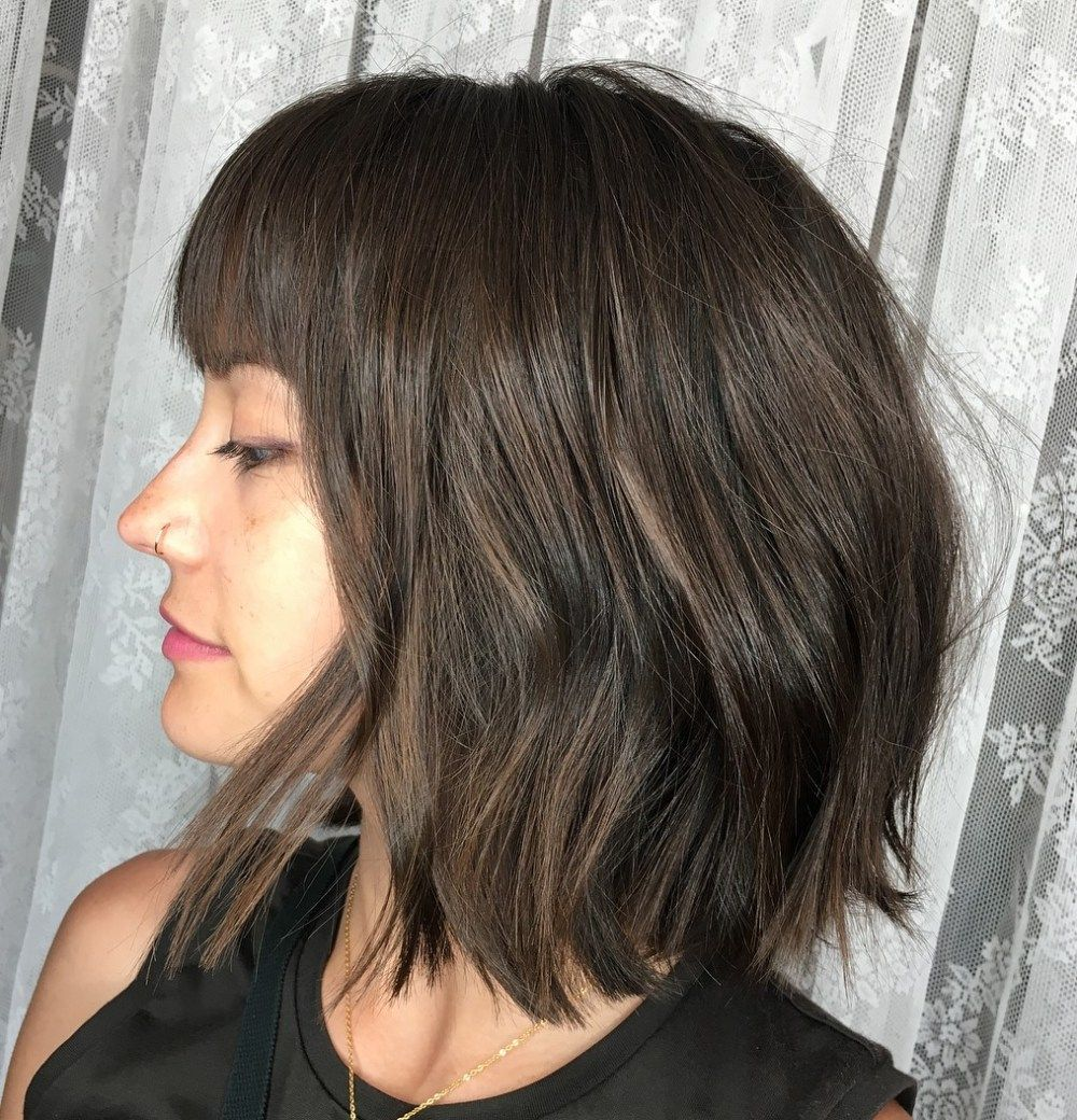 bob haircut with straight bangs