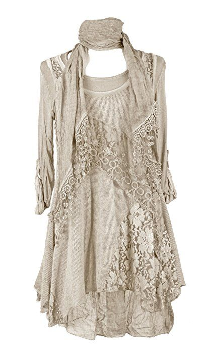 c0d5912b280 Ladies Womens Italian Lagenlook Quirky Layering 3 Piece Sequin Lace Knit  Mohair Long Sleeves Scarf Tunic Top Dress One Size Plus (UK 12-20)