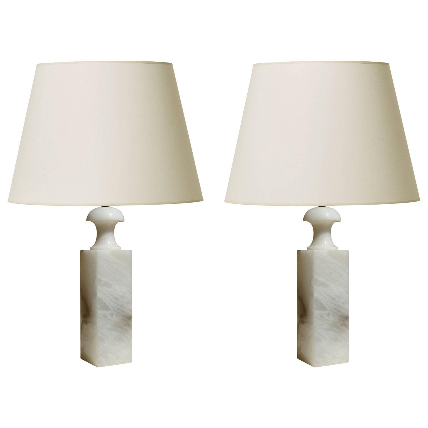 Pair Of Table Lamps With Tall Baluster Form In Alabaster By Bergboms Lamp Table Lamp Vintage Table Lamp