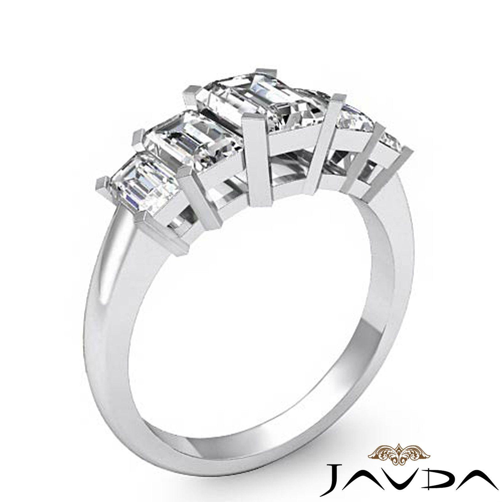 5 Stone Basket Style Prong Set Emerald Diamond Engagement