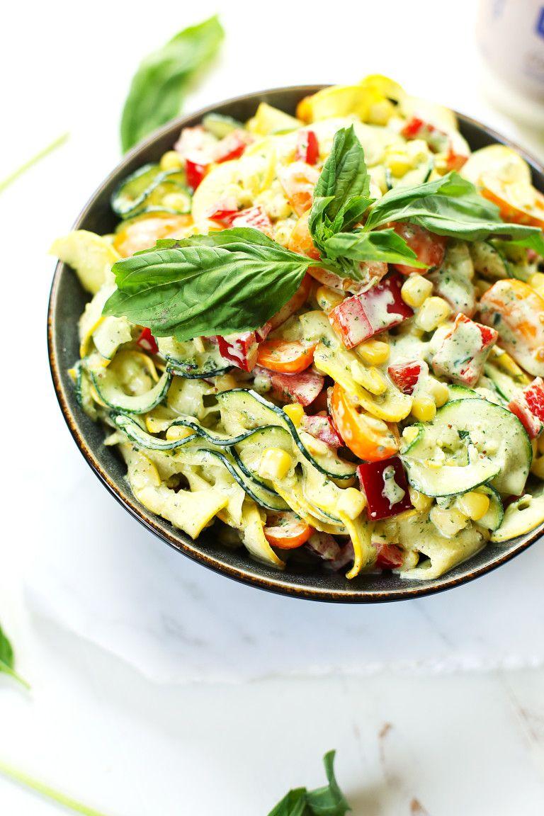 Vegan Pasta Less Summer Squash Salad