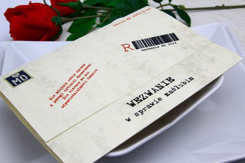 Zaproszenie ślubne Stylizowane Na Wezwanie Z Epoki Prl Koperta Z