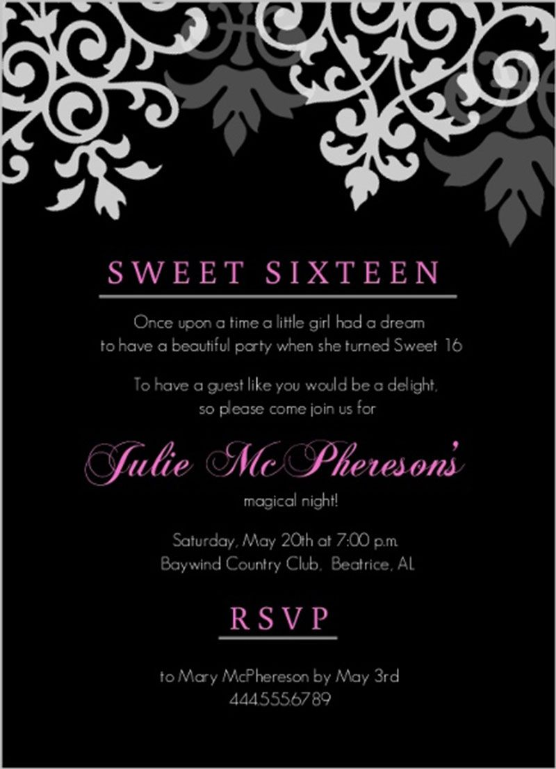 cool black pink flourish sweet sixteen birthday invitation design