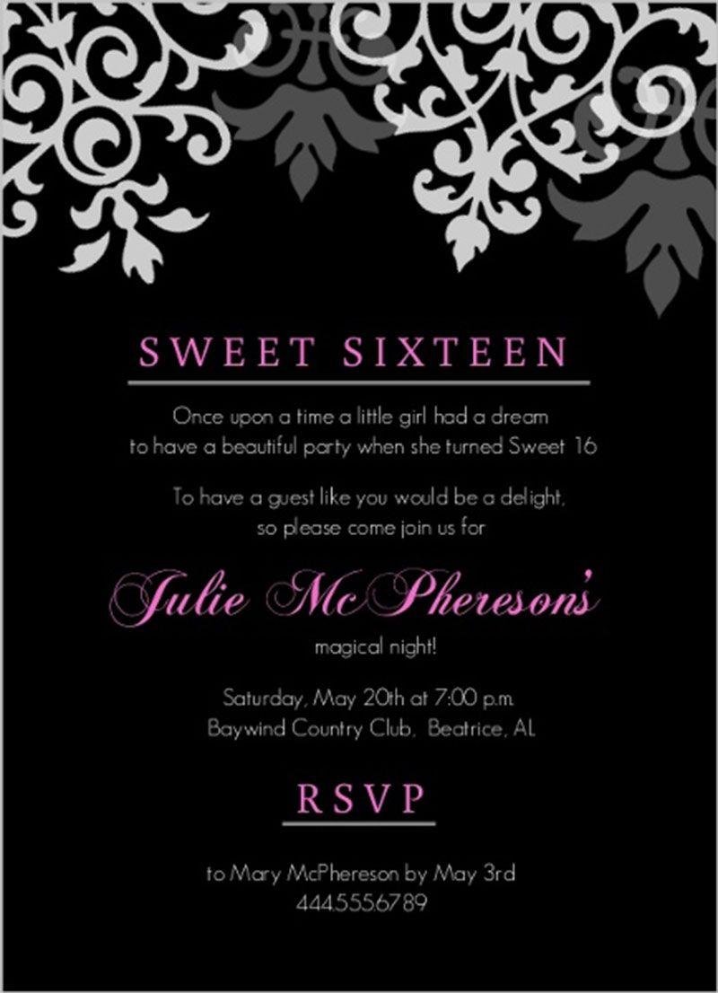Cool Black Pink Flourish Sweet Sixteen Birthday Invitation Design 16th