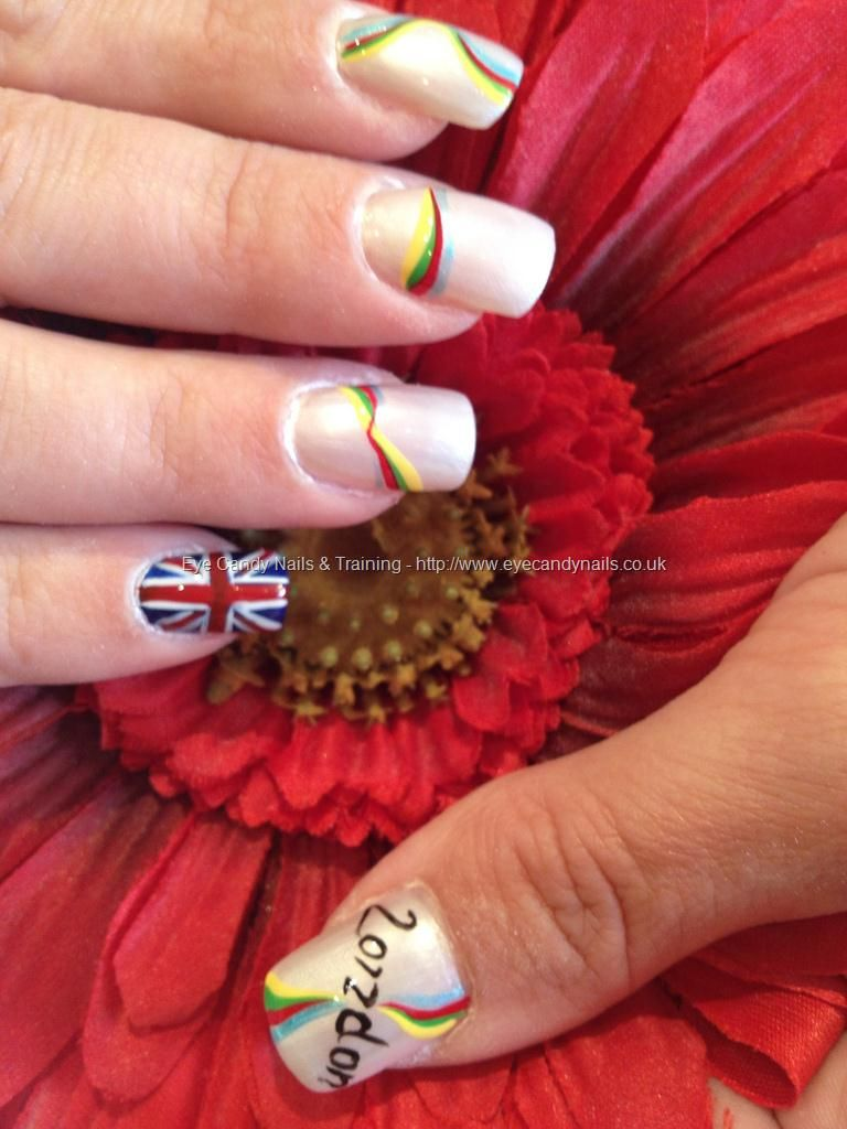 Olympic 2012 Freehand Nail Art Love The Union Jack Flag That