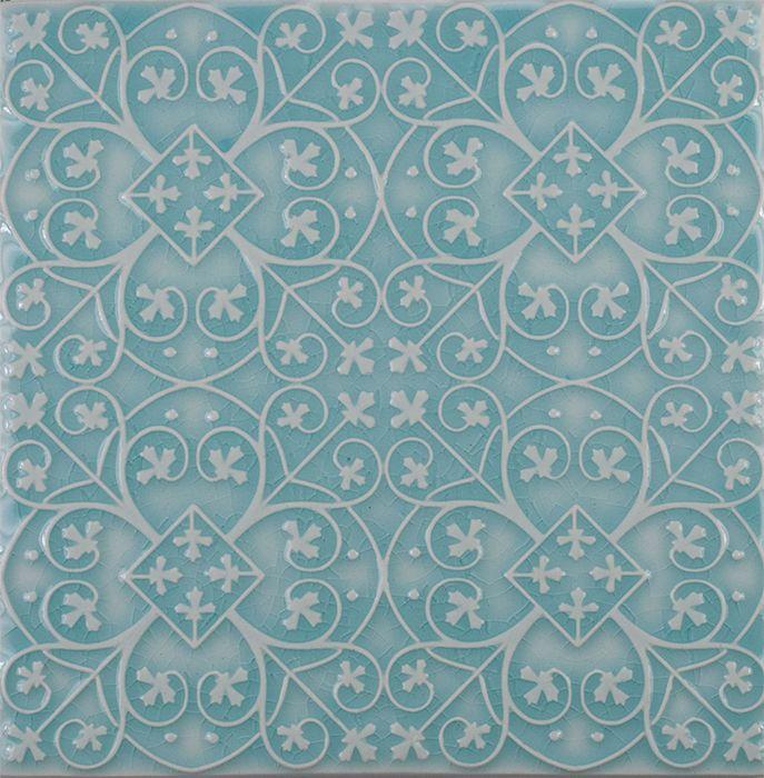 american handmade decorative ceramic tile pratt and larson filigree pattern watercolor crackle aqua wall tile backsplash - Decorative Ceramic Tile