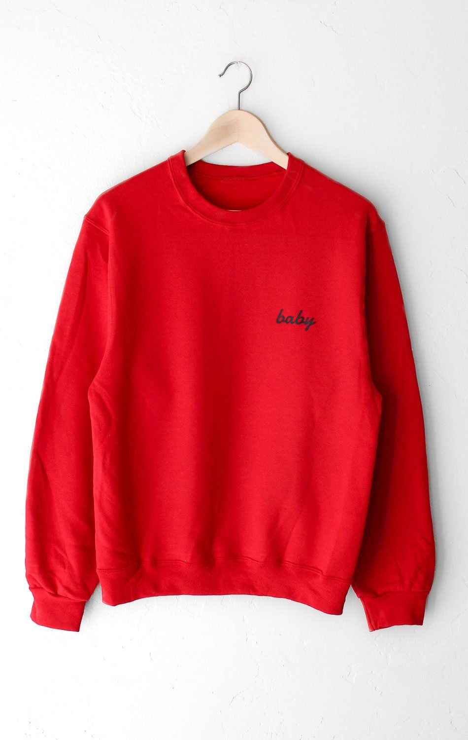 Description Size Guide Details Oversized Crewneck Sweatshirt In Red With Print Featuring Baby On Front Left Chest Brand Nyct Clothing Fabric Care 5 [ 1500 x 950 Pixel ]