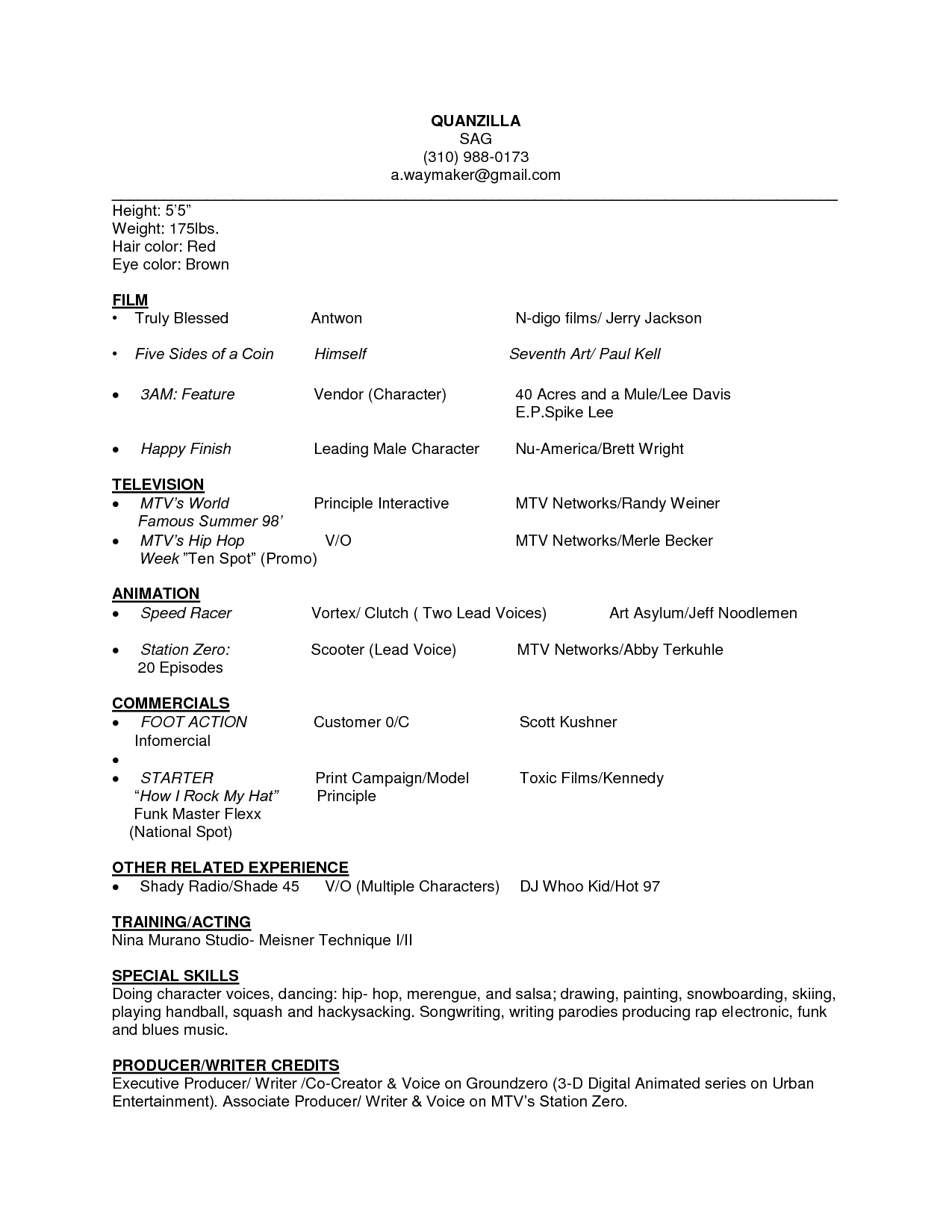 beginner acting resume template examples resumes sample