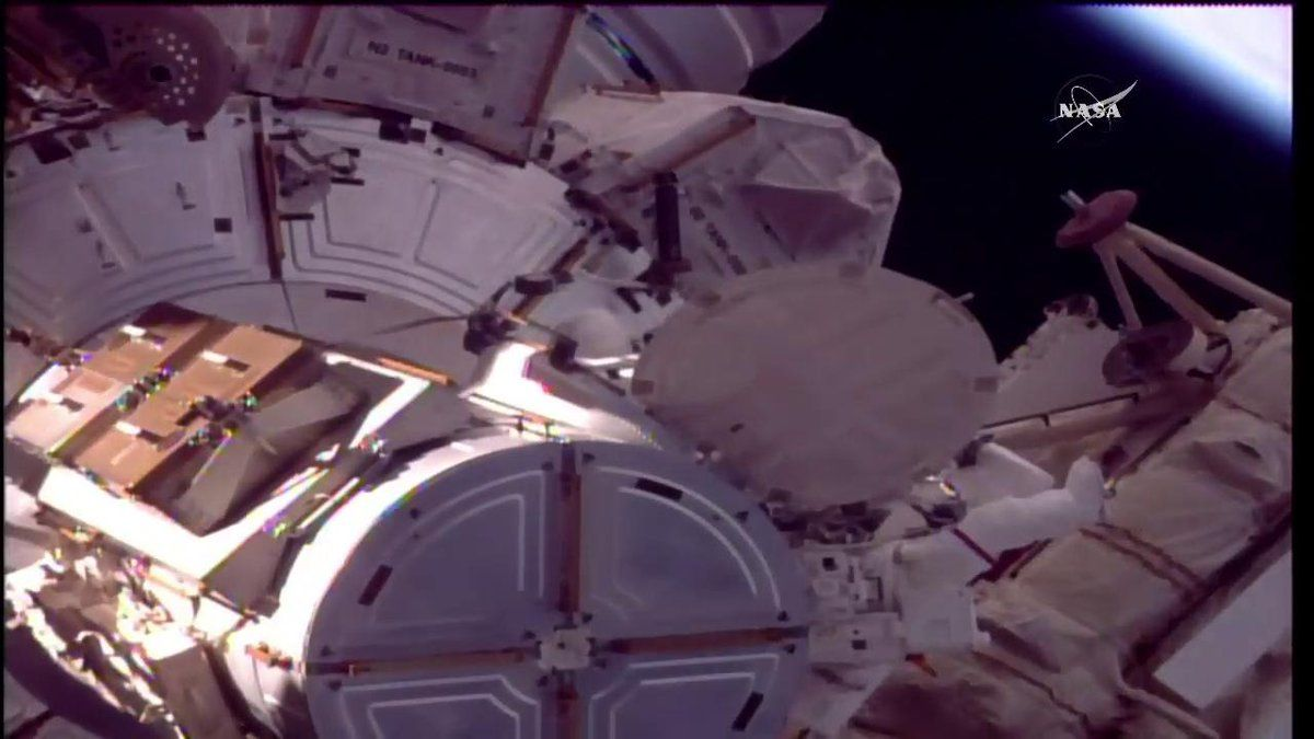"""Intl. Space Station on Twitter: """".@AstroFish begins his first spacewalk with @AstroPeggy who is on her ninth. Expected to last about 4 hours. https://t.co/ABuQAkBBBI https://t.co/WV4c2lBb20"""""""