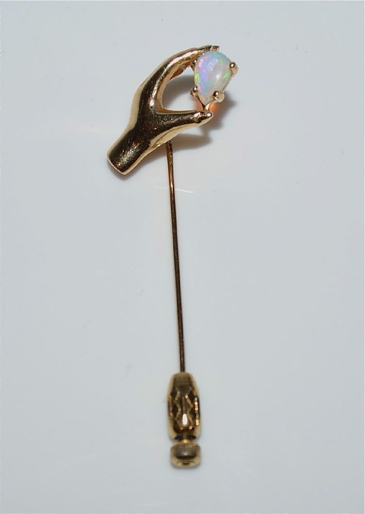 Vintage 14 Kt Yellow Gold Hand With Opal Stick Pin    eBay