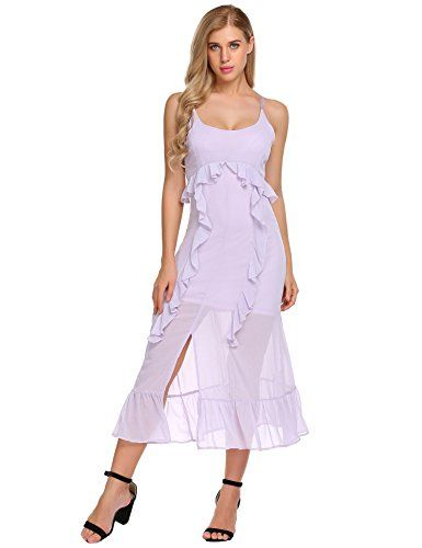 c7852ff491b Elesol Women s Ruffle Chiffon Strappy Front Split Casual Boho Maxi Dress