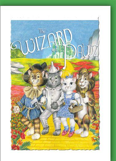 Cat Card Wizard Of Pawz Wizard Of Oz Cats Cat Greeting Card Cat