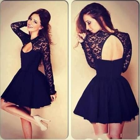 Schwarzes kleid mit spitze ruckenfrei