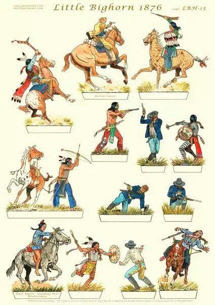 0010 Little Bighorn cutouts American indian wars, Vintage