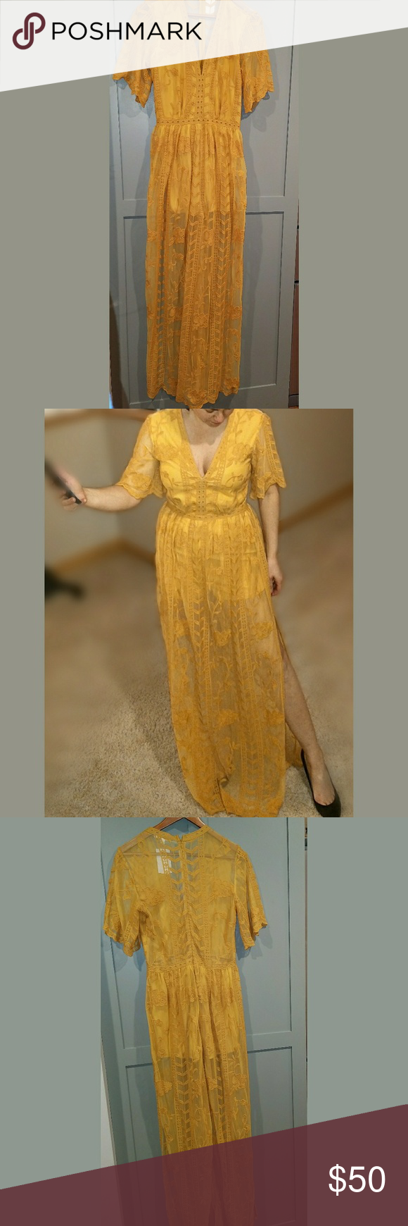 Socialite mustard embroidered dress