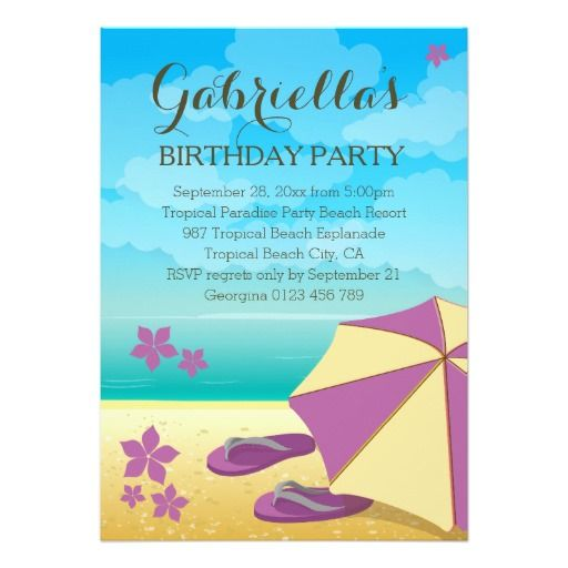 modern mauve tropical beach birthday party invitation pinterest