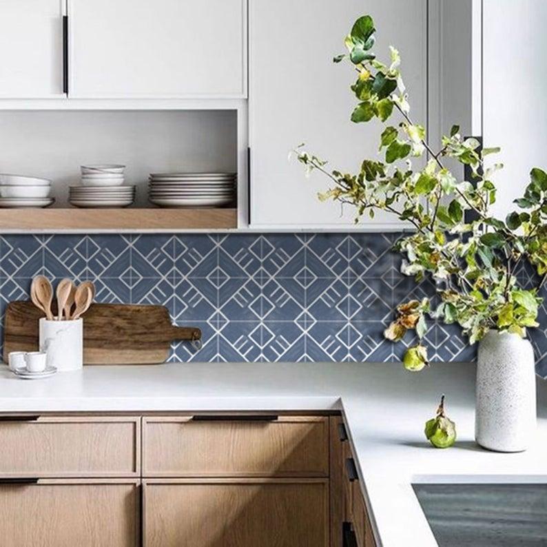Sale Colorado Wallpaper In Grey Removable Vinyl Wallpaper In Etsy Vinyl Tile Vinyl Wallpaper Kitchen Tiles