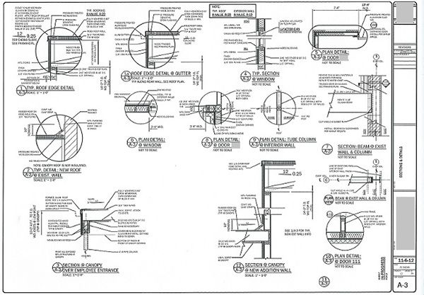 architectural construction drawings, details walls sections