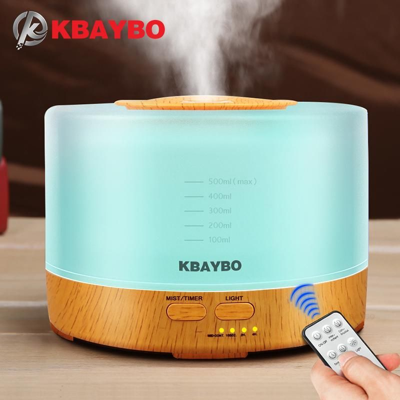 KBAYBO 500ml Ultrasonic Air Humidifier led light wood grain