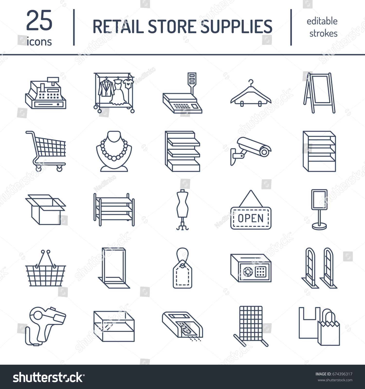 Retail Store Supplies Line Icons Trade Shop Equipment Signs Commercial Objects Cash Register Basket In 2020 Social Media Design Graphics Shop Signs Store Supply