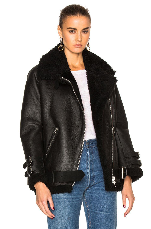 Velocite Shearlingtrimmed Leather Biker Jacket In Black