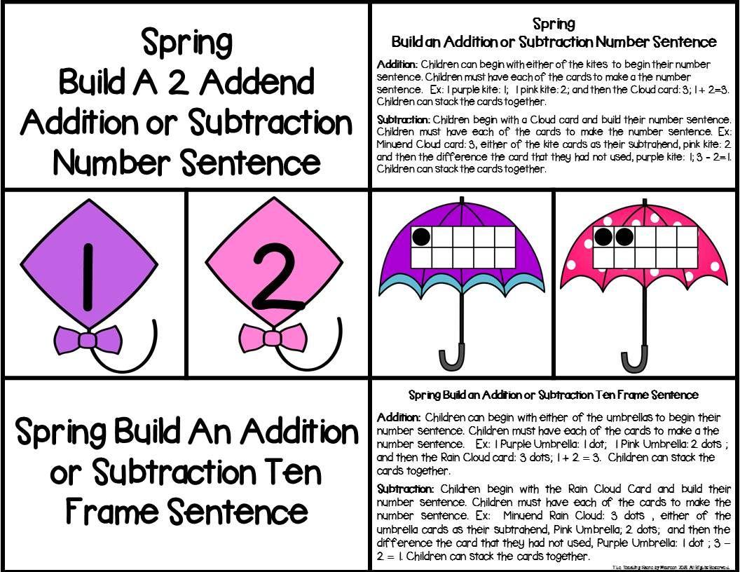 Spring Build A 2 Addend Number Sentence With Ten Frames