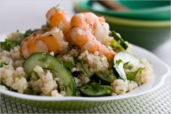 Quinoa Salad With Lime Ginger Dressing and Shrimp by Martha Rose Shulman, nytimes #Salad #Quinoa #Shrimp #Lime