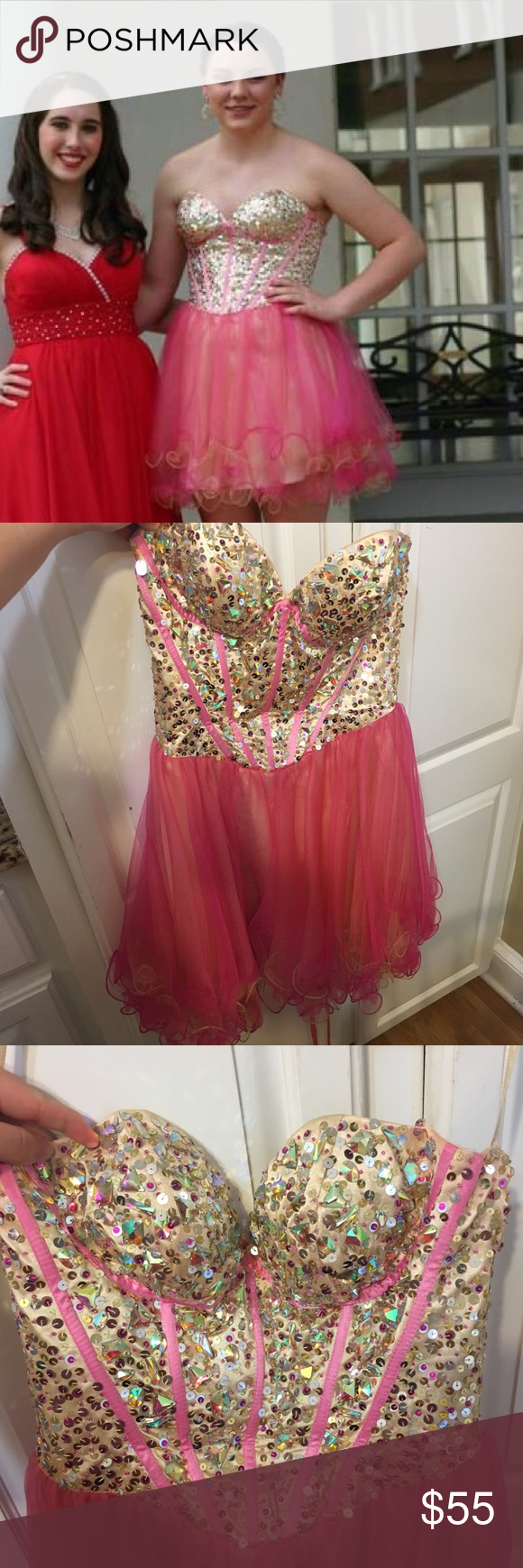 May Queen Short Prom Dress May Queen Short Prom Dress Size 6 Tan And Pink Worn A Couple Of Times I Purchased From A P Prom Dresses Dresses Short Prom Dress [ 1740 x 580 Pixel ]