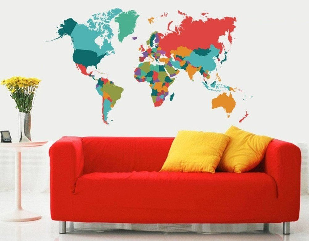 Amazon colourful world map wall decals peel and stick removable amazon colourful world map wall decals peel and stick removable wall stickers diy gumiabroncs Gallery