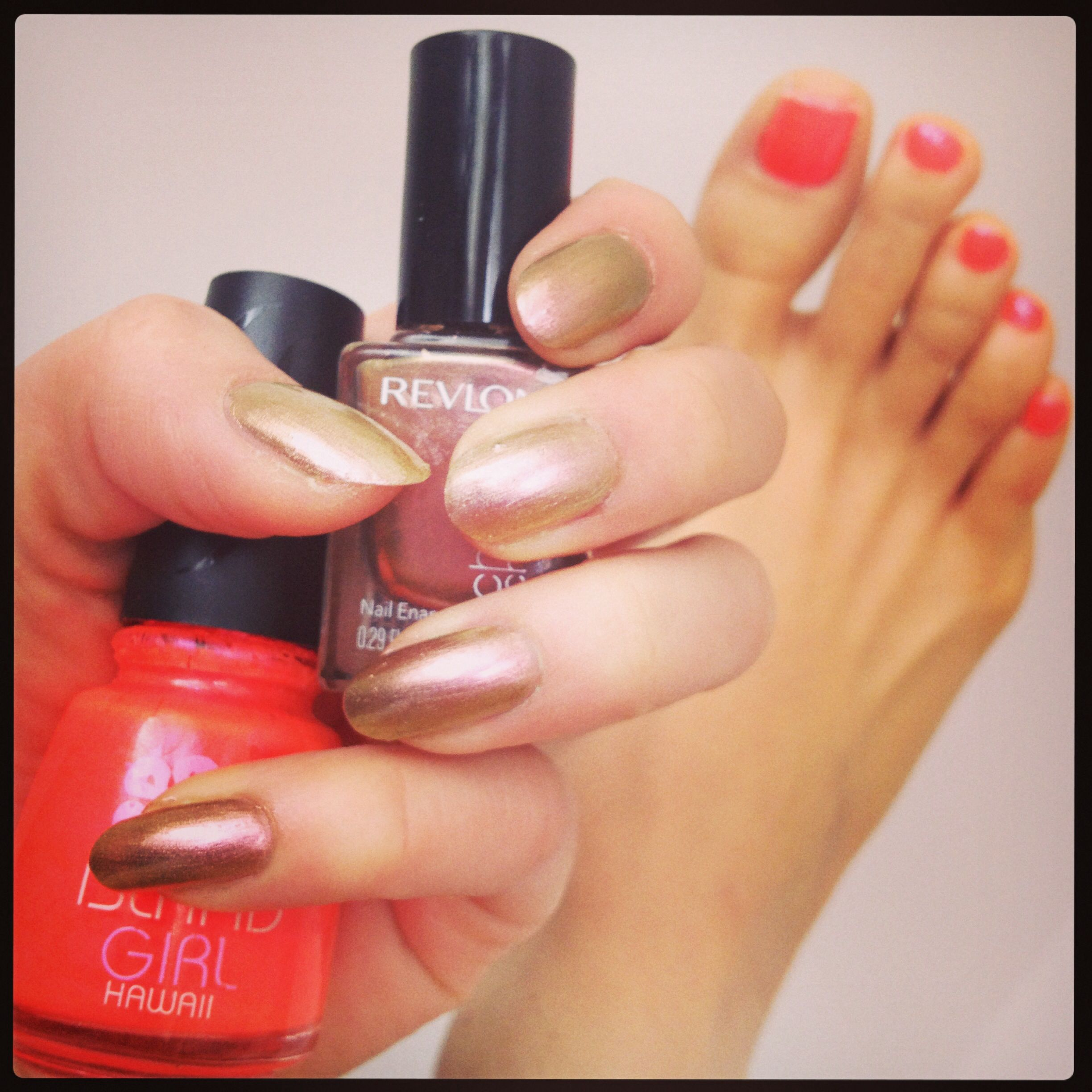 gold and neon pink /orange nails island girl revlon manicure ...