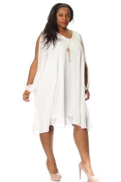 Plus Size Slit Sleeve Chiffon Shift Dress W Necklace My Style