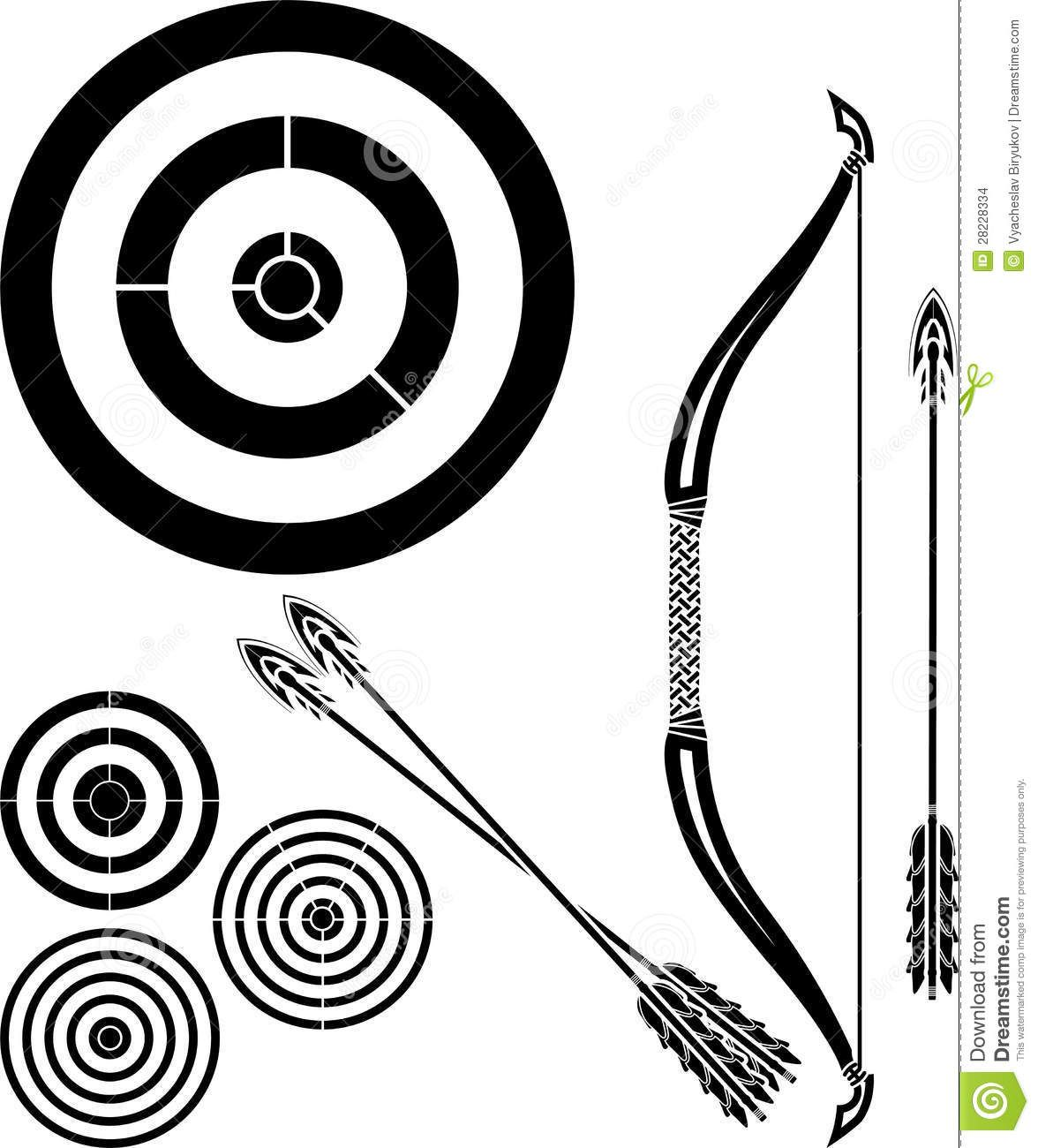 Stencil Of Bow, Arrows And Targets Download From Over 41