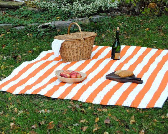 Striped Picnic Blanket Xl Orange White Summer By Sewnnatural 150 00 Picnic Blanket Waterproof Picnic Blanket Picnic