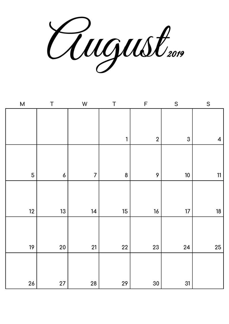 FREE Printable Calendar July & August 2019, Black and White
