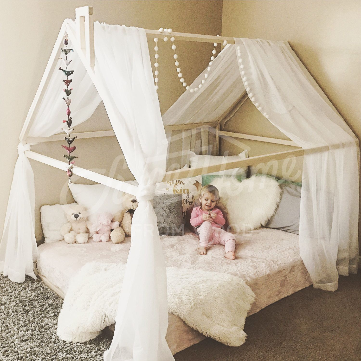 Wood bed FULL DOUBLE toddler bed tent bed wooden house bed frame