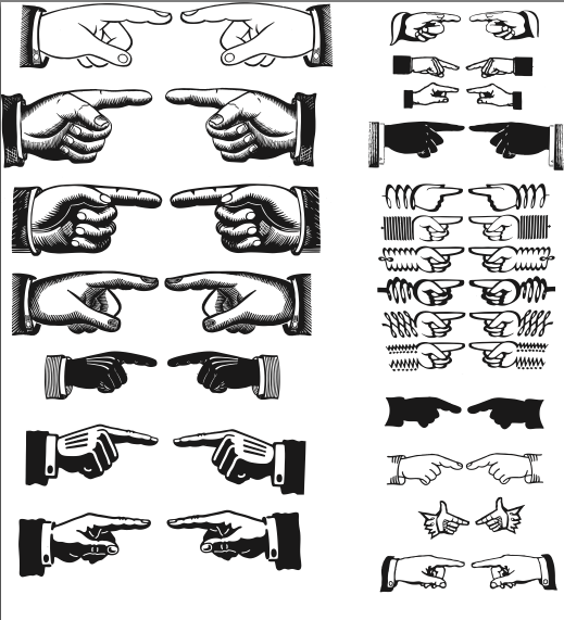 Pointing Hands Vectors Pointing Hand Clip Art Vintage Free Vector Art
