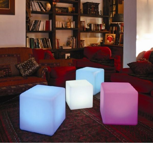 LED Bar Chairs Cube Modern Light Up Indoor Outdoor Dining Stool Party Seat  NEW #HLA