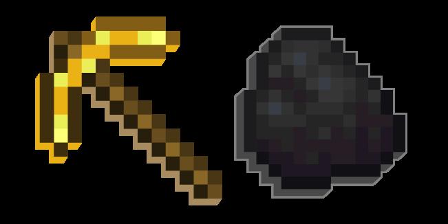 Minecraft Golden Pickaxe And Coal Minecraft Pixel Games Coal
