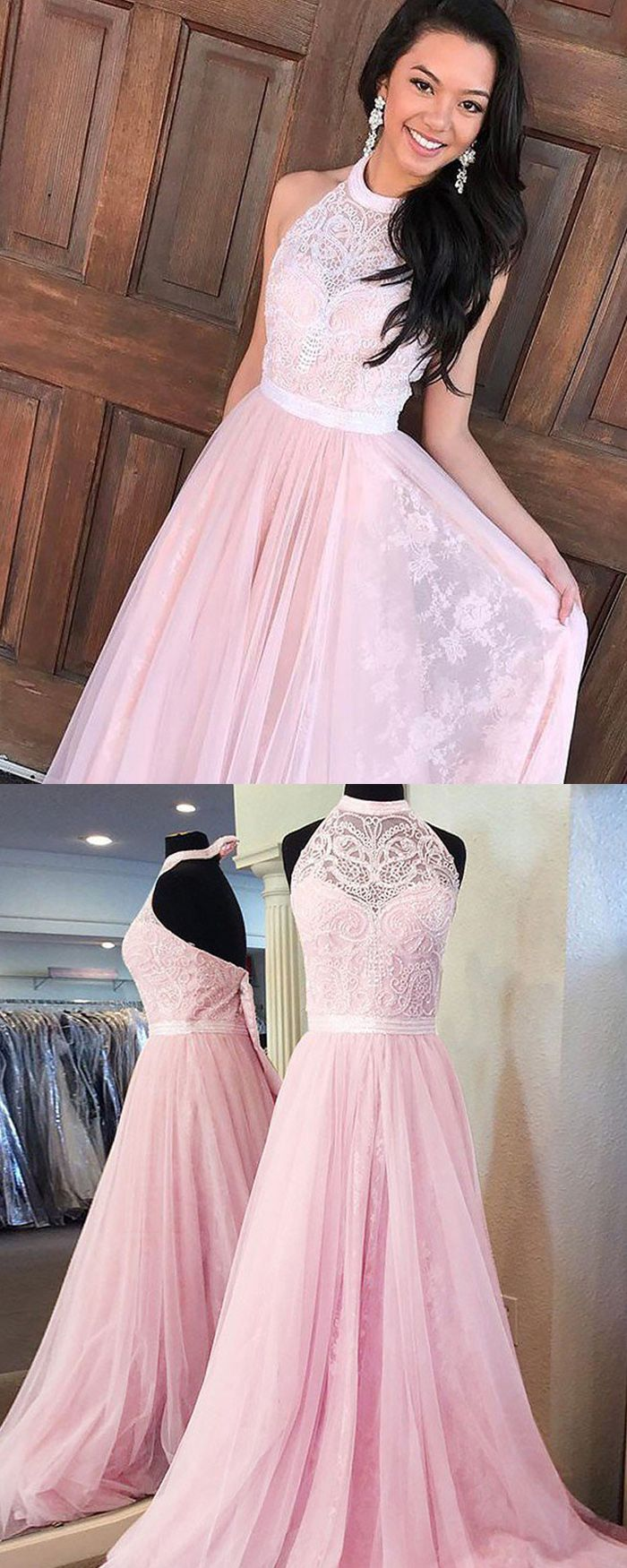 High neck lace pink pleated long prom dress pm long prom dress