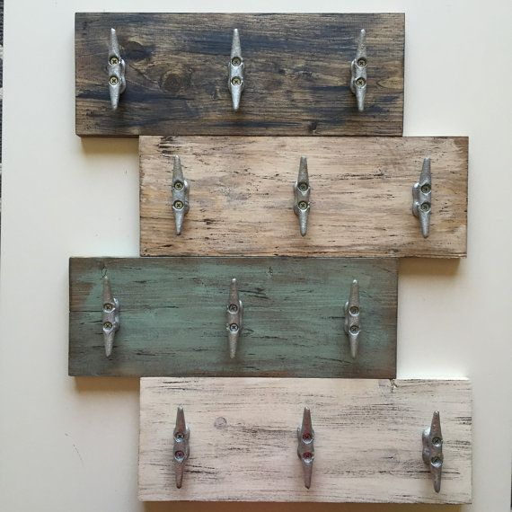 Boat Bathroom Signs: Distressed Wood Dock / Boat Cleat Plank Sign