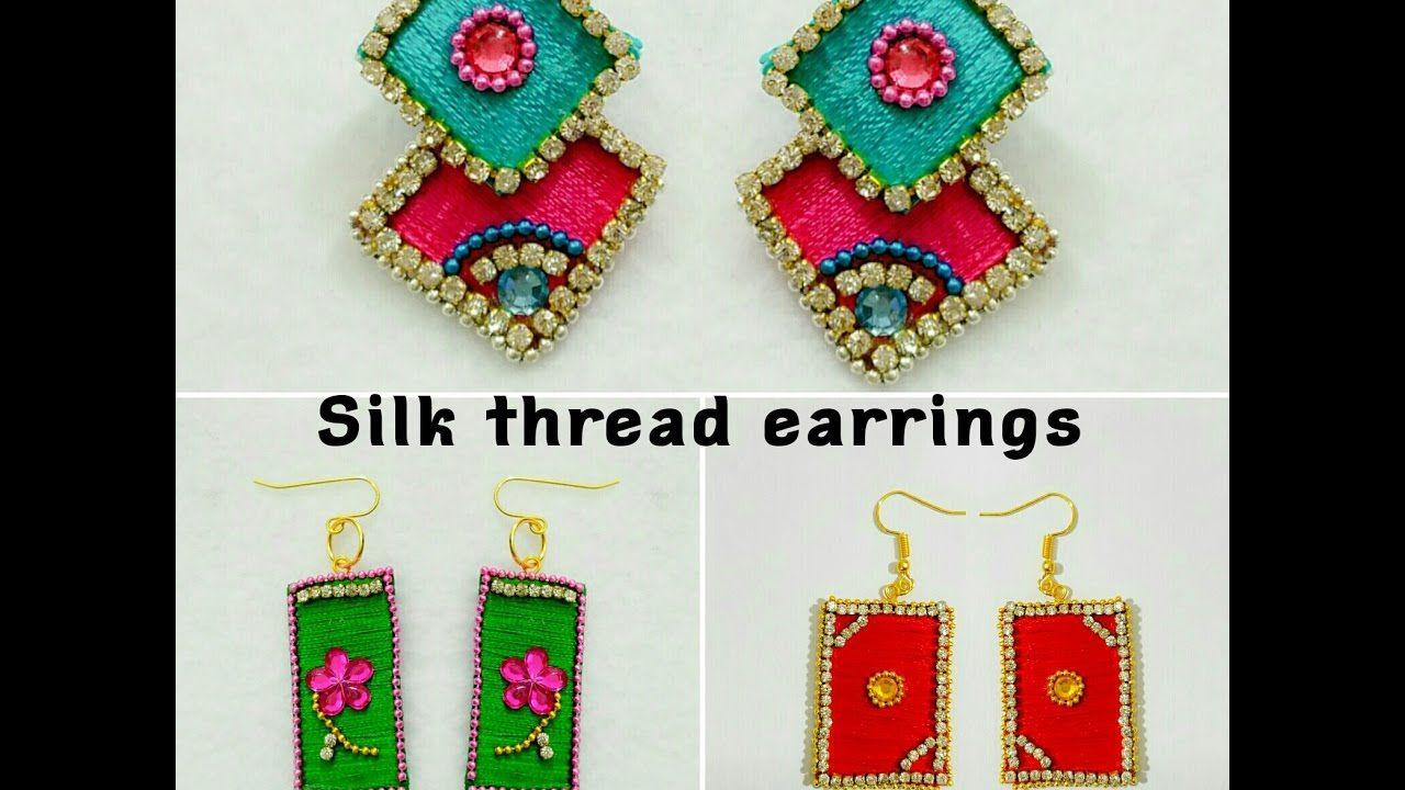 68af32454 Silk Thread Earrings||Paper Base||Fancy Silk Thread Earrings - YouTube