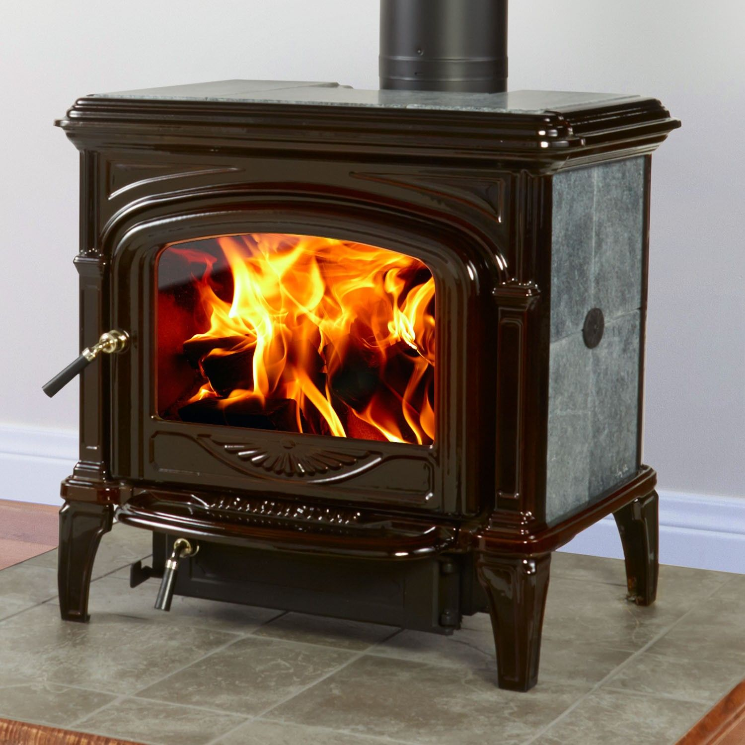 Phoenix 8612 Wood Stove With Brown Majolica Enamel Finish By Hearthstone Heats Up To 2000 Sq Ft Available From Rich S F Wood Stove Stove Wood Burning Stove