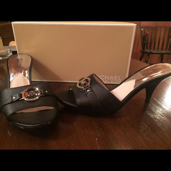 Michael Kors Tilly Mule Black with silver hardware Michael Kors Shoes Sandals