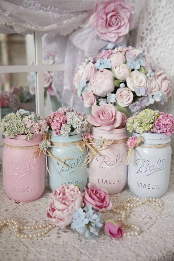 Photo of Shabby Chic Painted Mason Jar Centerpiece Decor Vase Wedding Bridal Baby Shower …