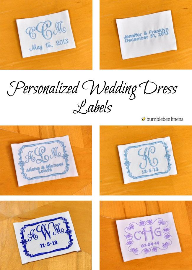 The wedding dress label makes a very special wedding keepsake because it  can be embroidered in