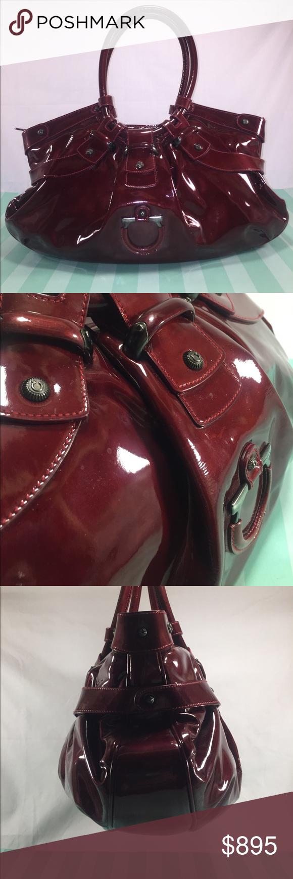 ec6d77fe87 SALVATORE FERRAGAMO Authentic Celtic Satchel SALVATORE FERRAGAMO Authentic  Celtic Satchel in burgundy red patent calfskin w