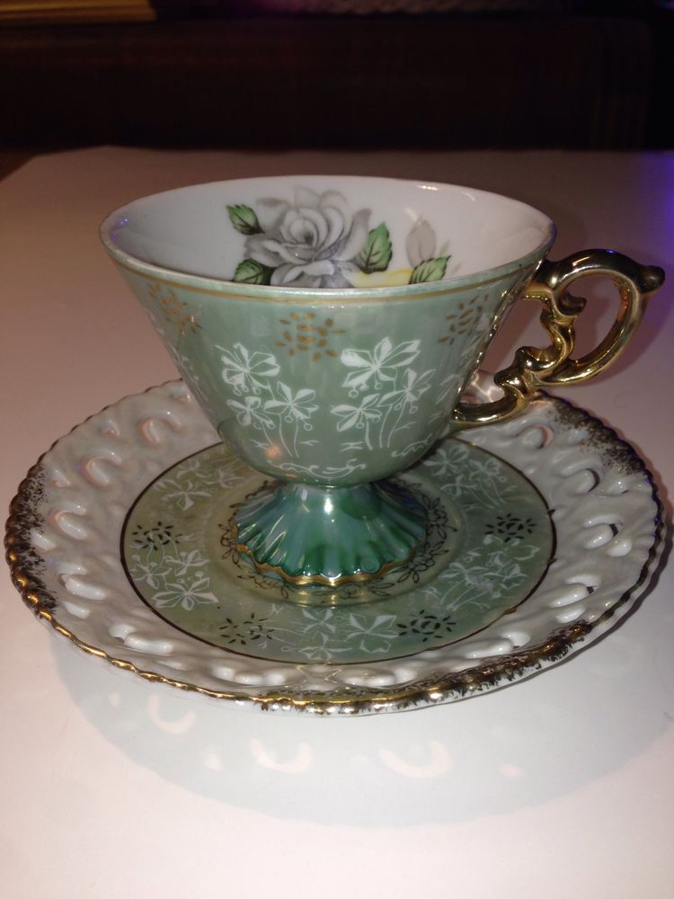 Royal Sealy Footed Pearlescent Tea Cup And Saucer