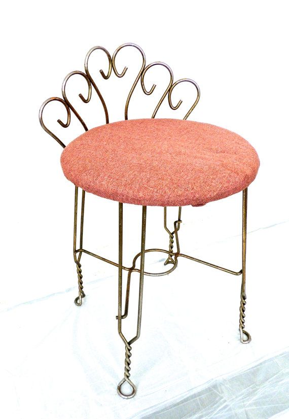 Groovy Vintage Brass Vanity Chair 1950S 60S Mid Century Hollywood Andrewgaddart Wooden Chair Designs For Living Room Andrewgaddartcom