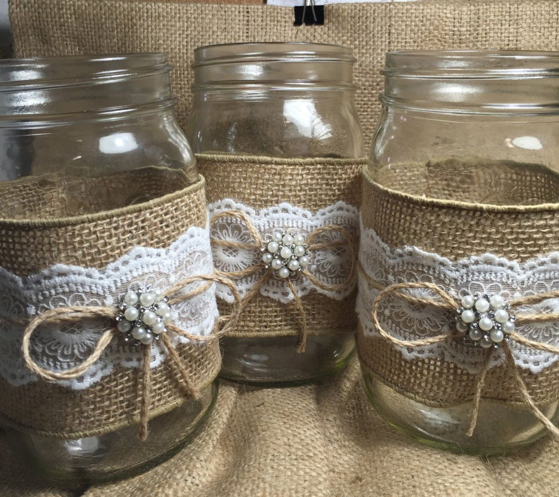 Vintage Wedding Ideas Mason Jars: Set Of 10 Burlap Quart Mason Jar Wraps Rustic By